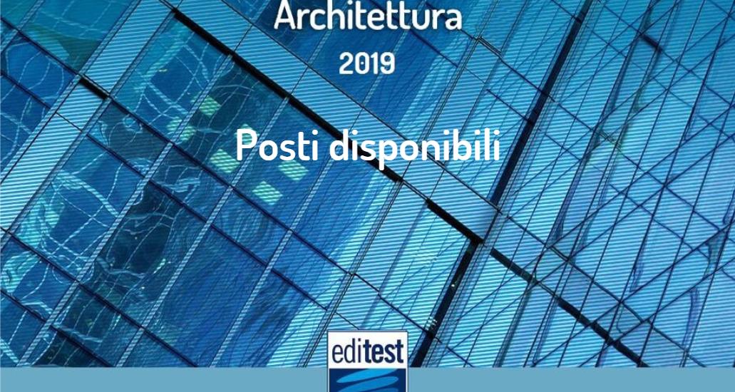 test architettura 2019 posti disponibili