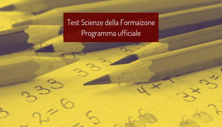 Programma Test Scienze Formazione Primaria 2021